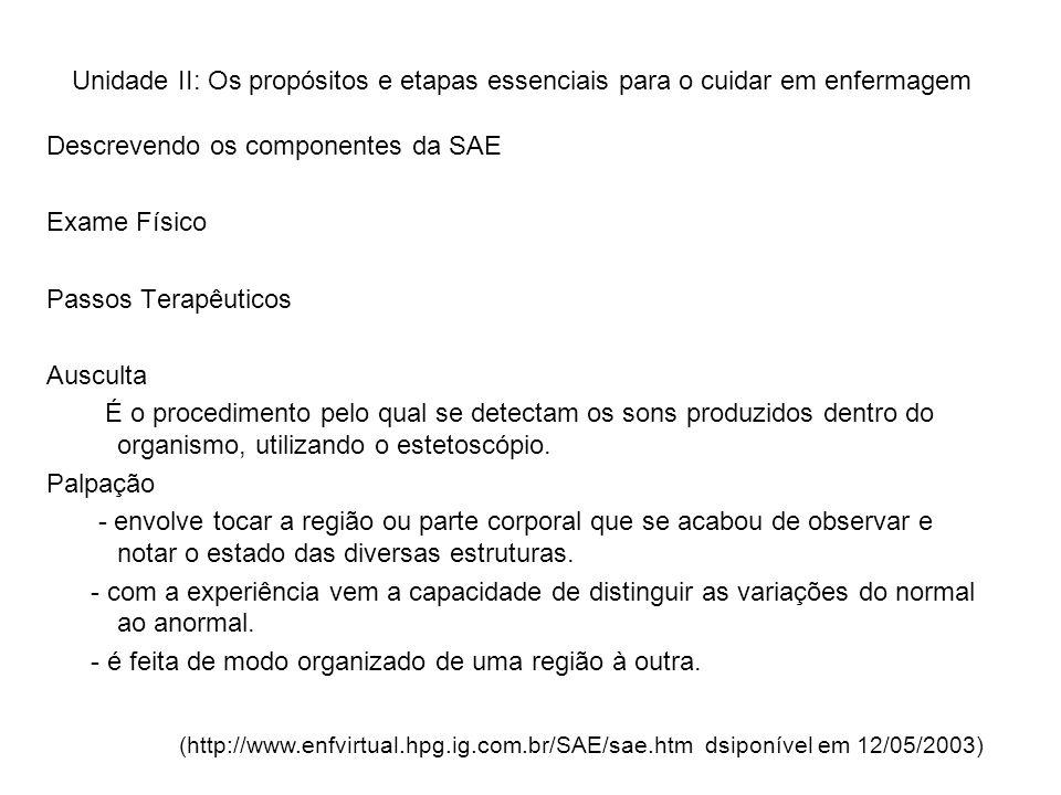 Descrevendo os componentes da SAE Exame Físico Passos Terapêuticos
