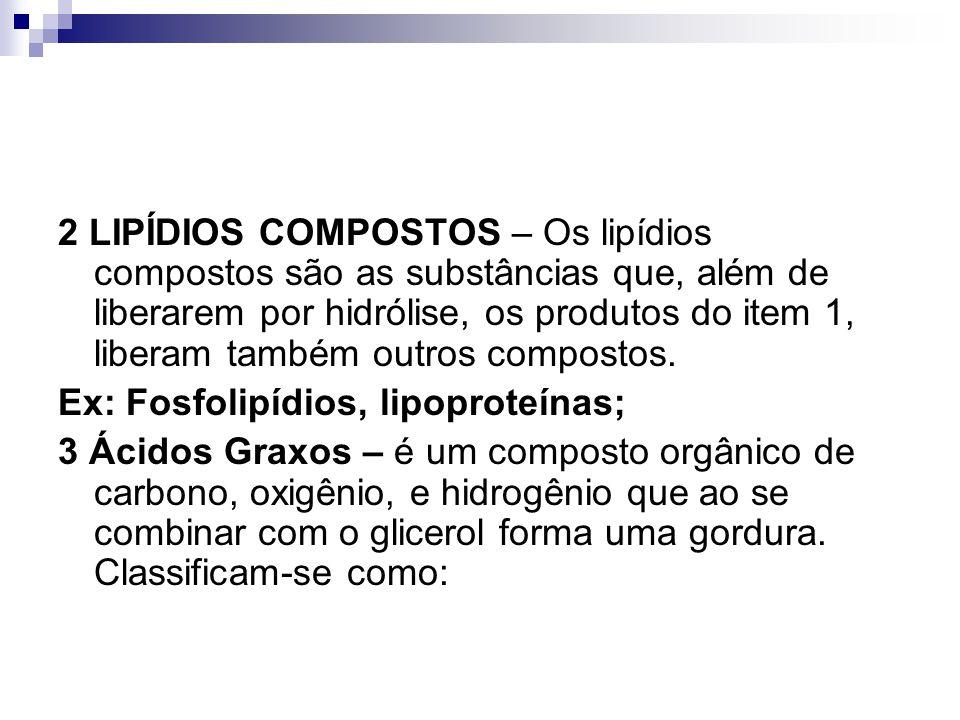 2 LIPÍDIOS COMPOSTOS – Os lipídios compostos são as substâncias que, além de liberarem por hidrólise, os produtos do item 1, liberam também outros compostos.