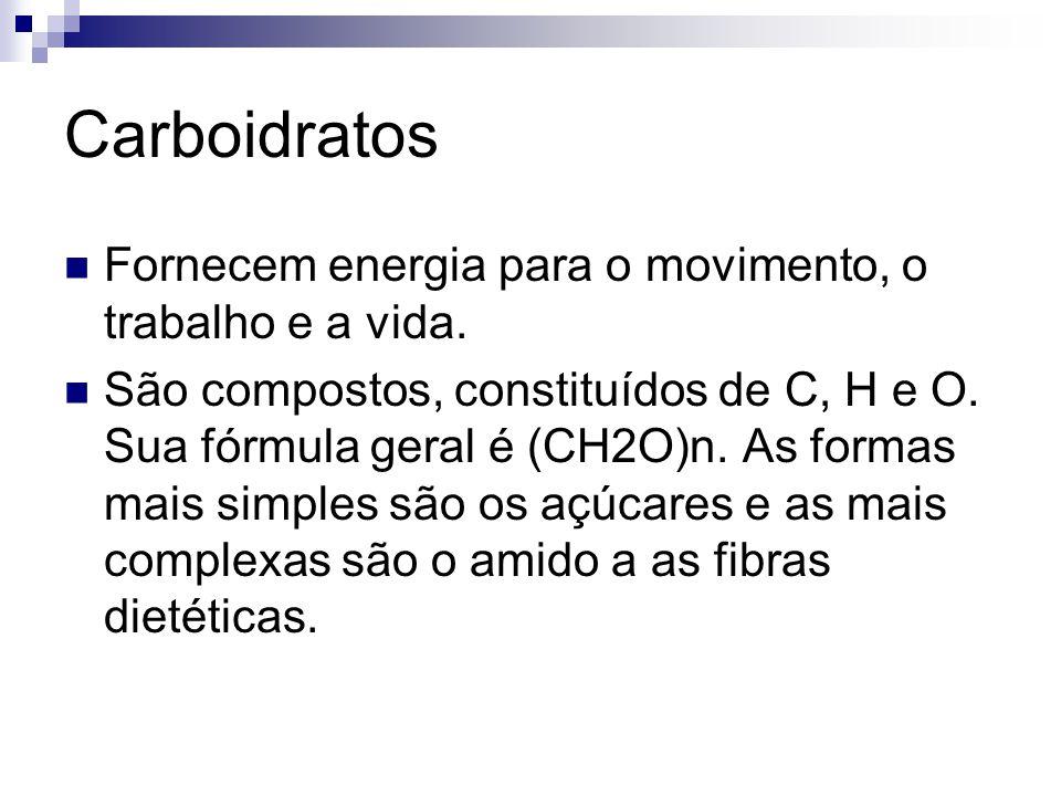 Carboidratos Fornecem energia para o movimento, o trabalho e a vida.