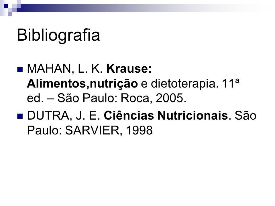 Bibliografia MAHAN, L. K. Krause: Alimentos,nutrição e dietoterapia. 11ª ed. – São Paulo: Roca, 2005.