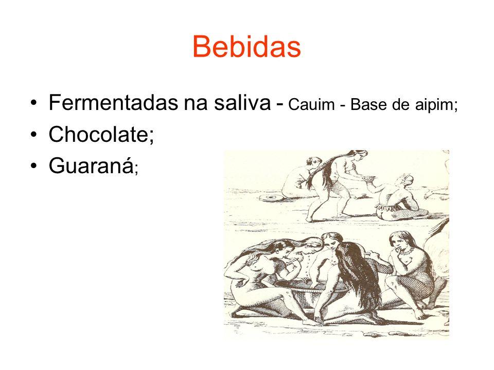Bebidas Fermentadas na saliva - Cauim - Base de aipim; Chocolate;