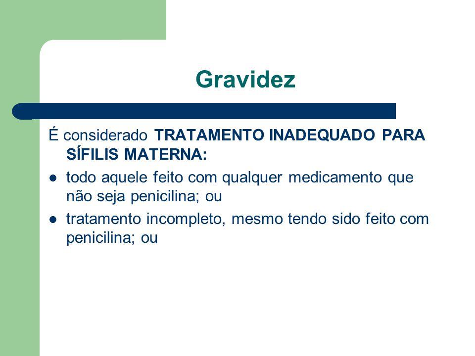 Gravidez É considerado TRATAMENTO INADEQUADO PARA SÍFILIS MATERNA: