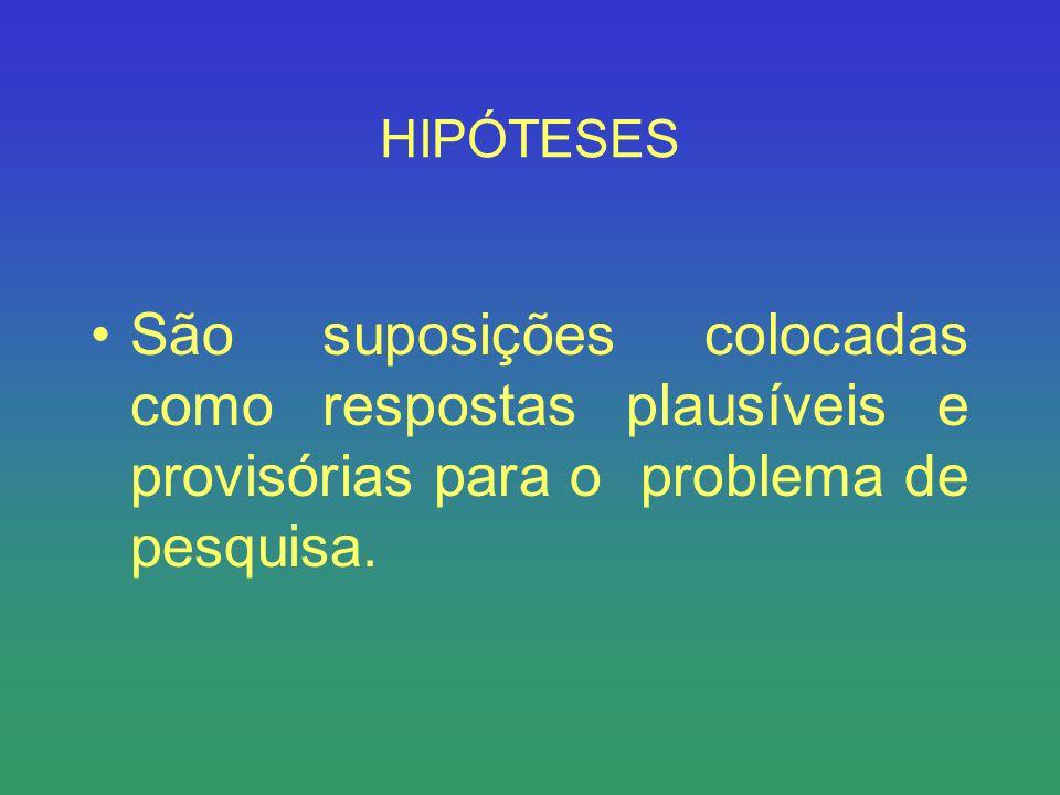 HIPÓTESES São suposições colocadas como respostas plausíveis e provisórias para o problema de pesquisa.