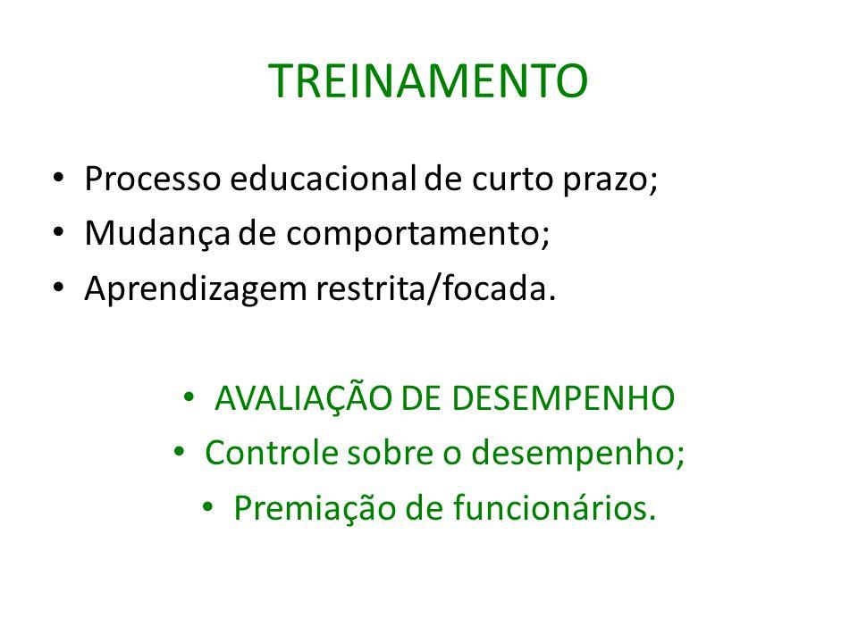 TREINAMENTO Processo educacional de curto prazo;