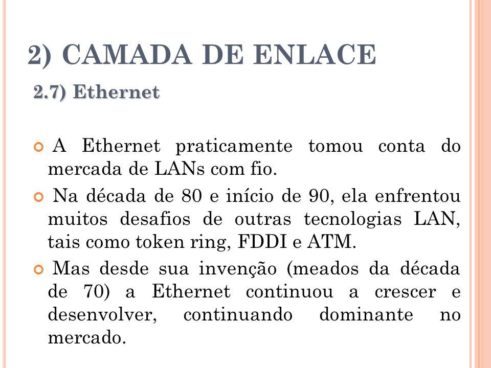 2) CAMADA DE ENLACE 2.7) Ethernet