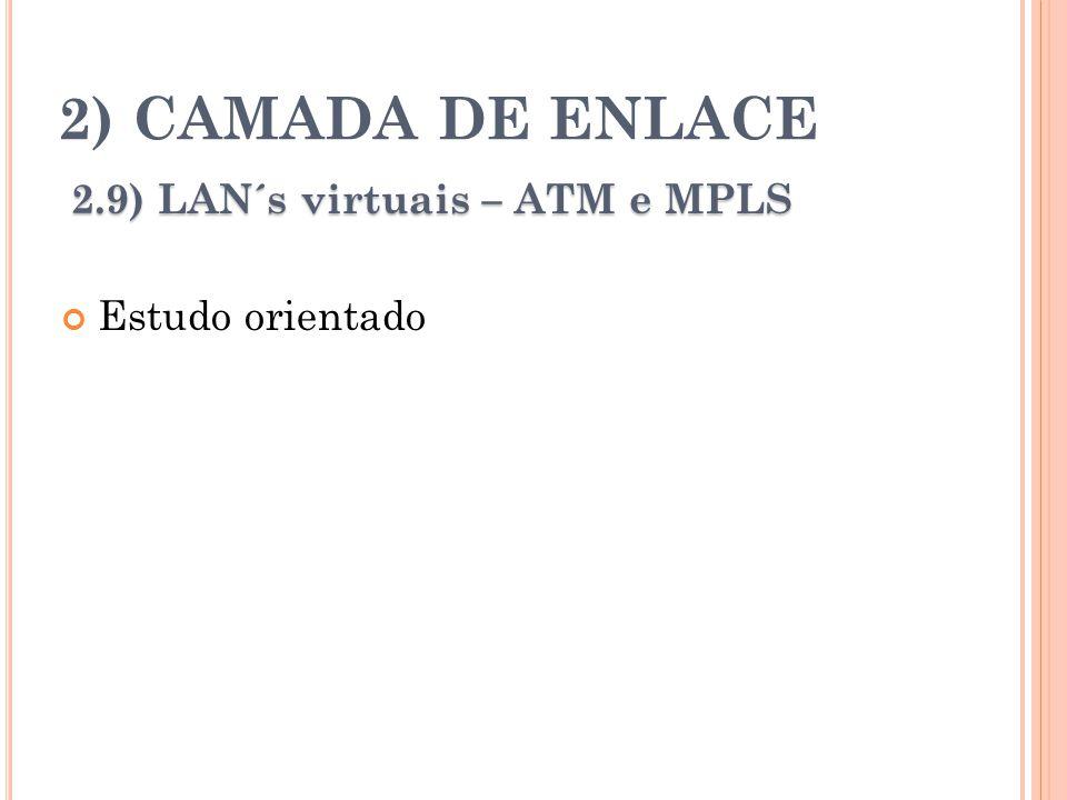 2) CAMADA DE ENLACE 2.9) LAN´s virtuais – ATM e MPLS Estudo orientado