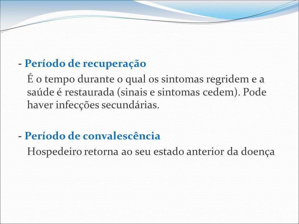 - Período de recuperação É o tempo durante o qual os sintomas regridem e a saúde é restaurada (sinais e sintomas cedem).