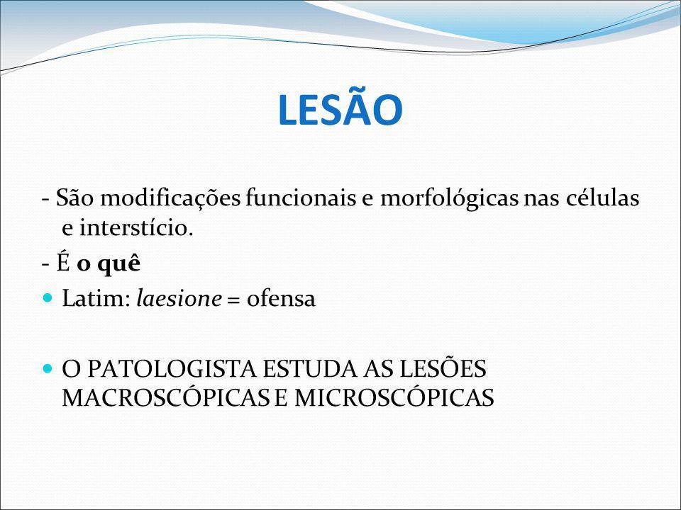 LESÃO - São modificações funcionais e morfológicas nas células e interstício. - É o quê. Latim: laesione = ofensa.