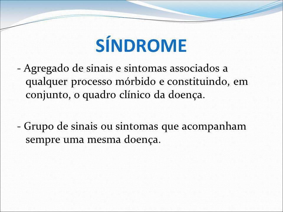 SÍNDROME - Agregado de sinais e sintomas associados a qualquer processo mórbido e constituindo, em conjunto, o quadro clínico da doença.