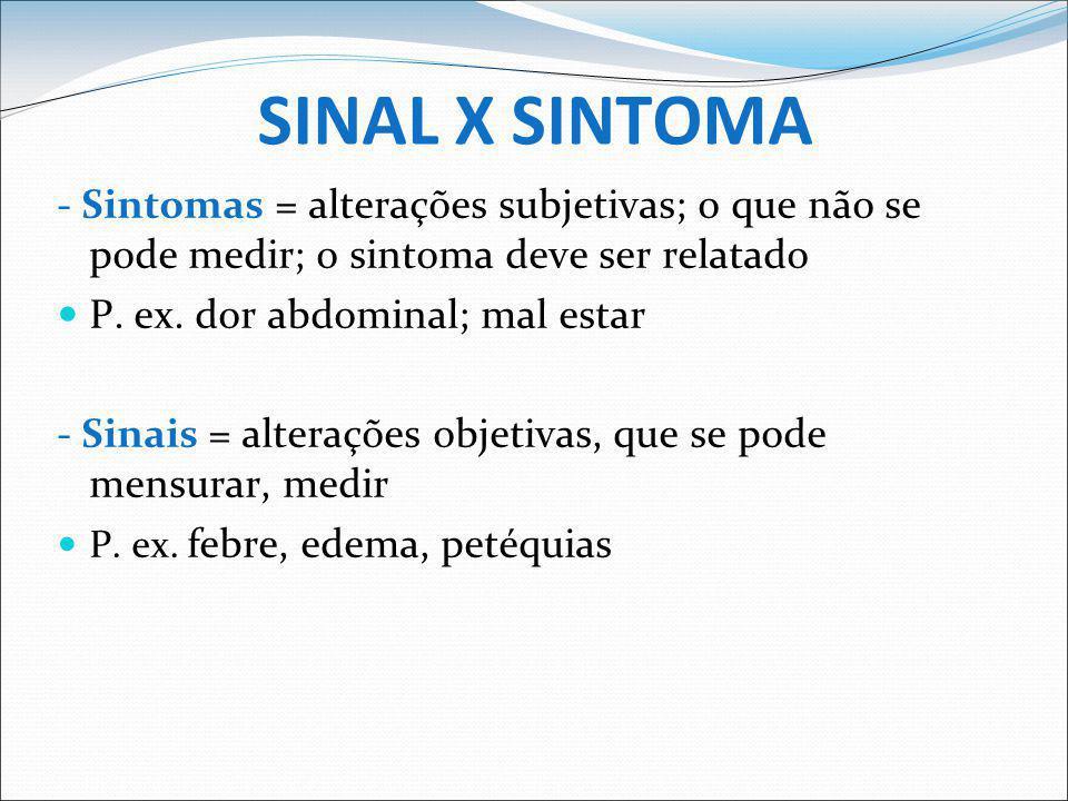 SINAL X SINTOMA - Sintomas = alterações subjetivas; o que não se pode medir; o sintoma deve ser relatado.
