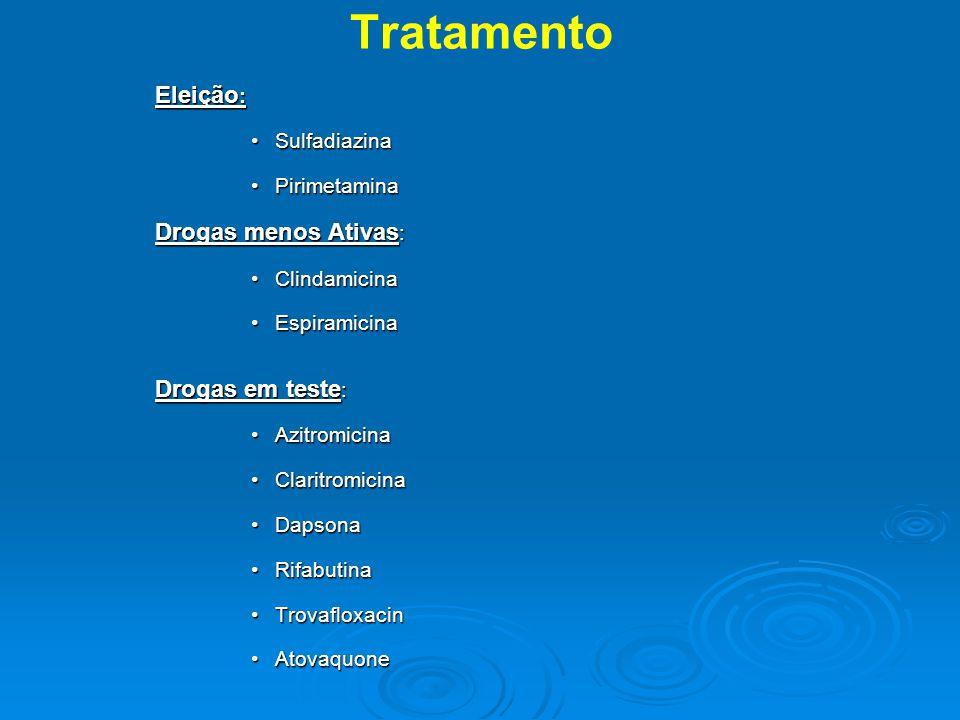 Tratamento Eleição: Sulfadiazina Pirimetamina Drogas menos Ativas:
