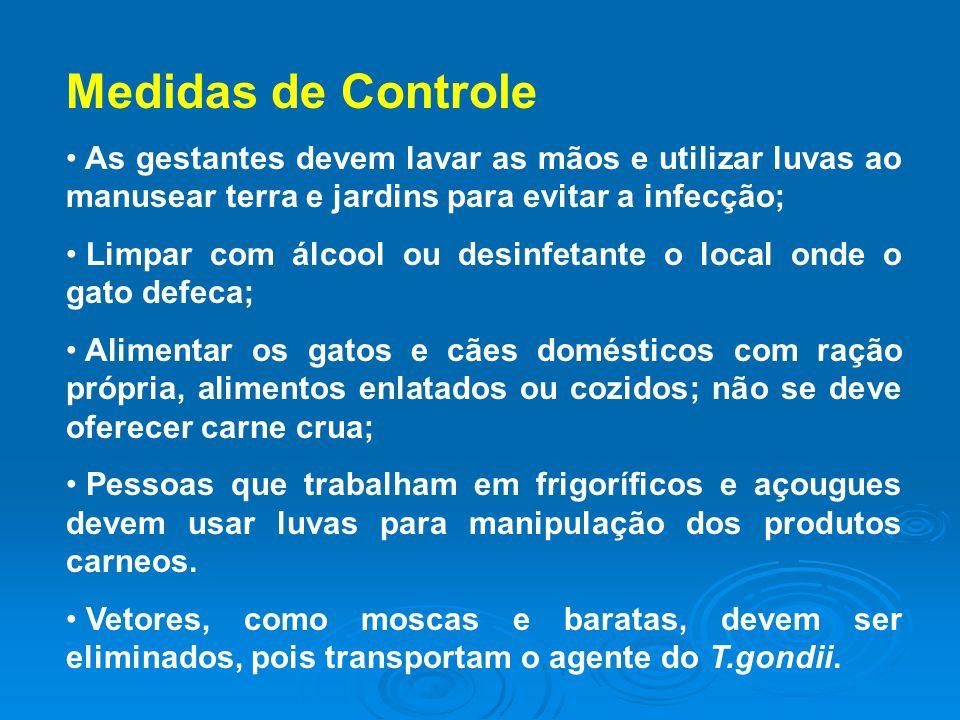 Medidas de Controle As gestantes devem lavar as mãos e utilizar luvas ao manusear terra e jardins para evitar a infecção;