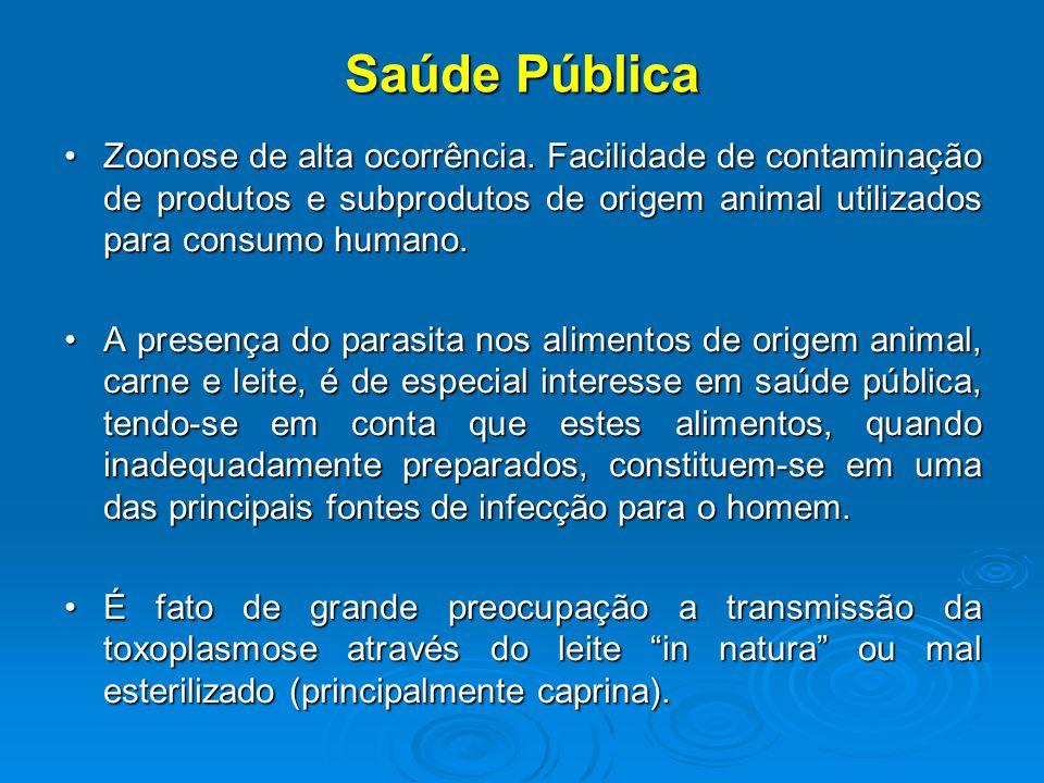 Saúde Pública Zoonose de alta ocorrência. Facilidade de contaminação de produtos e subprodutos de origem animal utilizados para consumo humano.