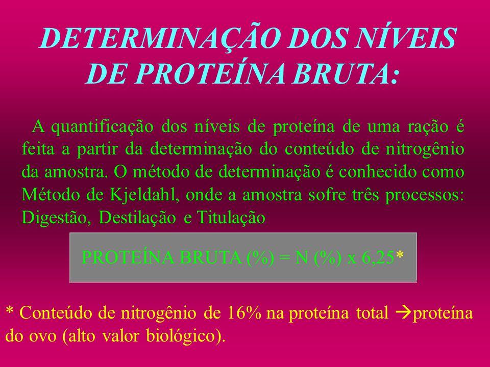 DETERMINAÇÃO DOS NÍVEIS DE PROTEÍNA BRUTA: