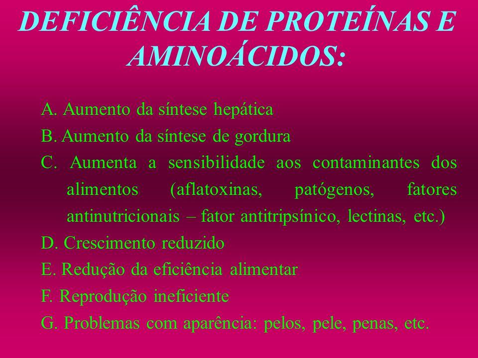DEFICIÊNCIA DE PROTEÍNAS E AMINOÁCIDOS: