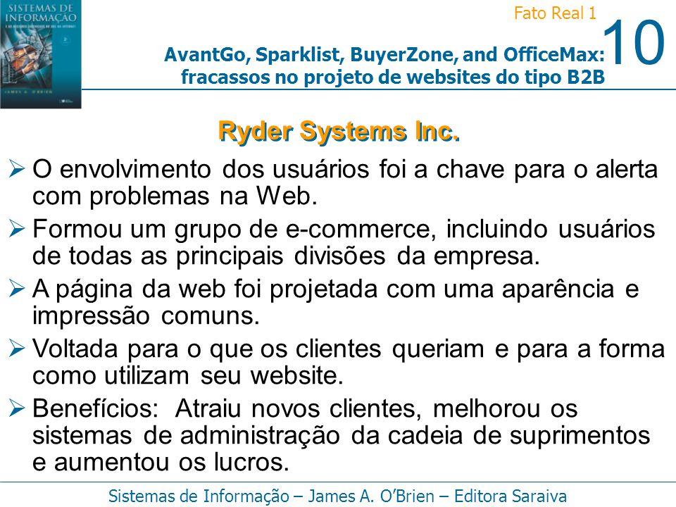 Ryder Systems Inc. O envolvimento dos usuários foi a chave para o alerta com problemas na Web.