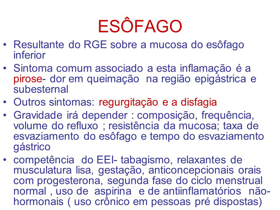 ESÔFAGO Resultante do RGE sobre a mucosa do esôfago inferior