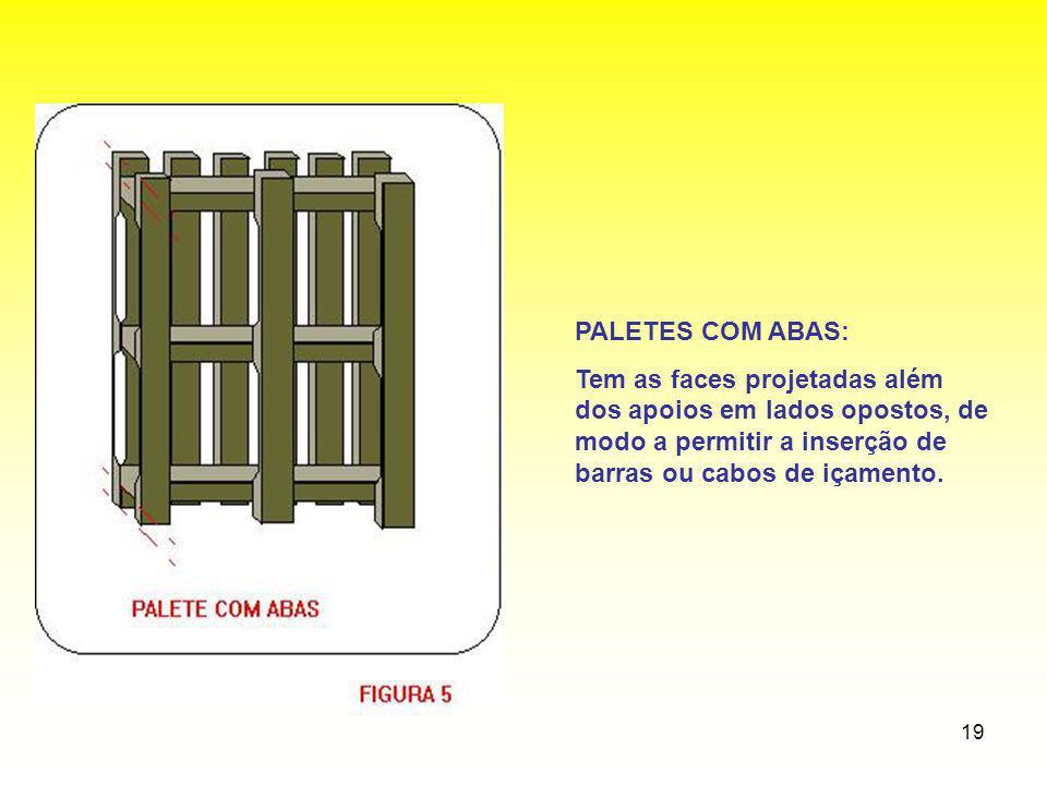 PALETES COM ABAS: Tem as faces projetadas além dos apoios em lados opostos, de modo a permitir a inserção de barras ou cabos de içamento.