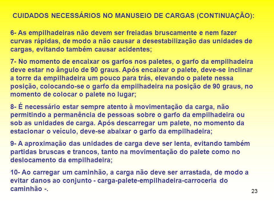 CUIDADOS NECESSÁRIOS NO MANUSEIO DE CARGAS (CONTINUAÇÃO):