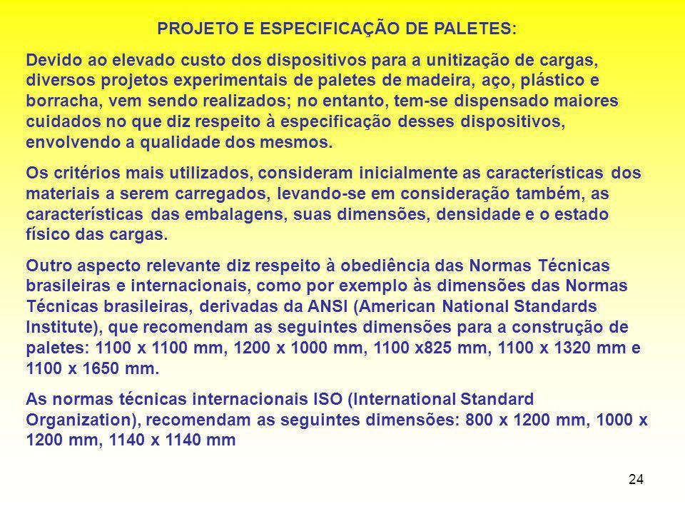 PROJETO E ESPECIFICAÇÃO DE PALETES: