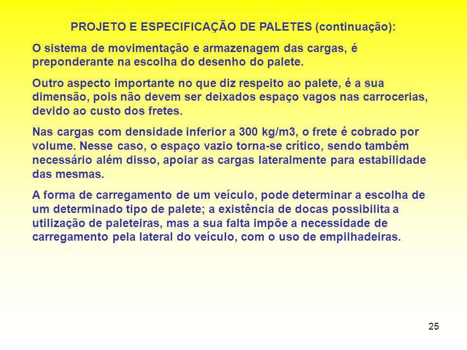PROJETO E ESPECIFICAÇÃO DE PALETES (continuação):