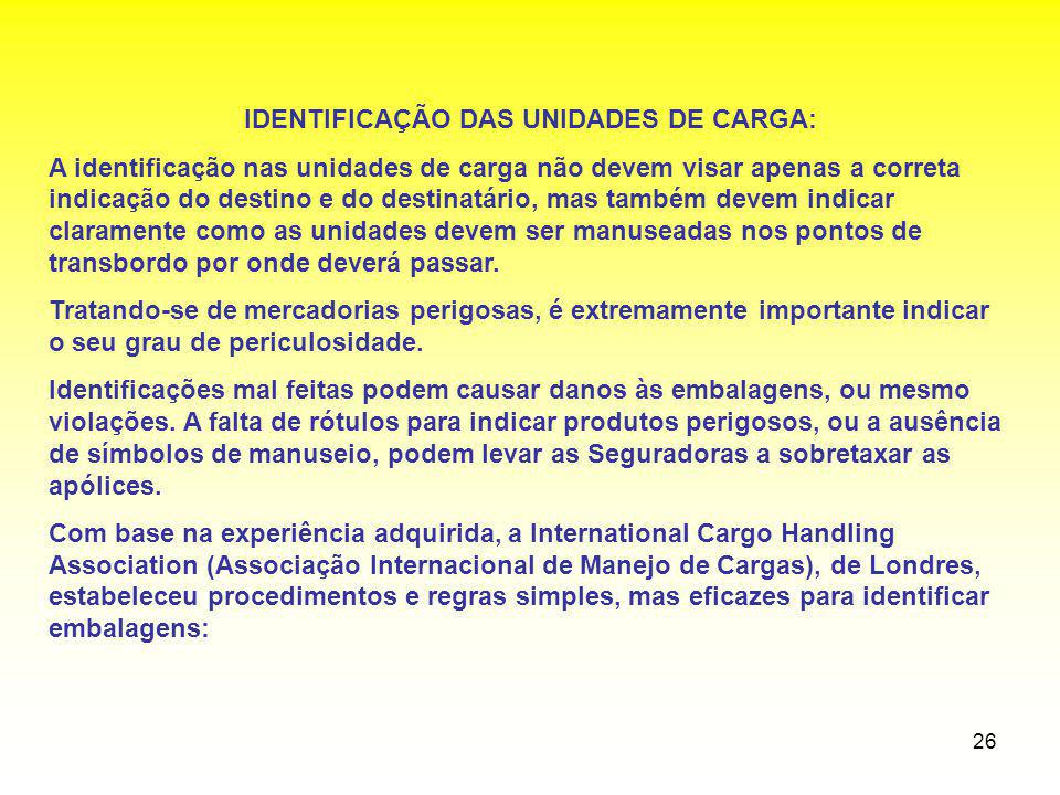 IDENTIFICAÇÃO DAS UNIDADES DE CARGA:
