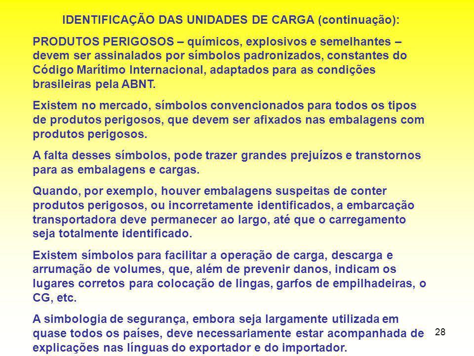 IDENTIFICAÇÃO DAS UNIDADES DE CARGA (continuação):