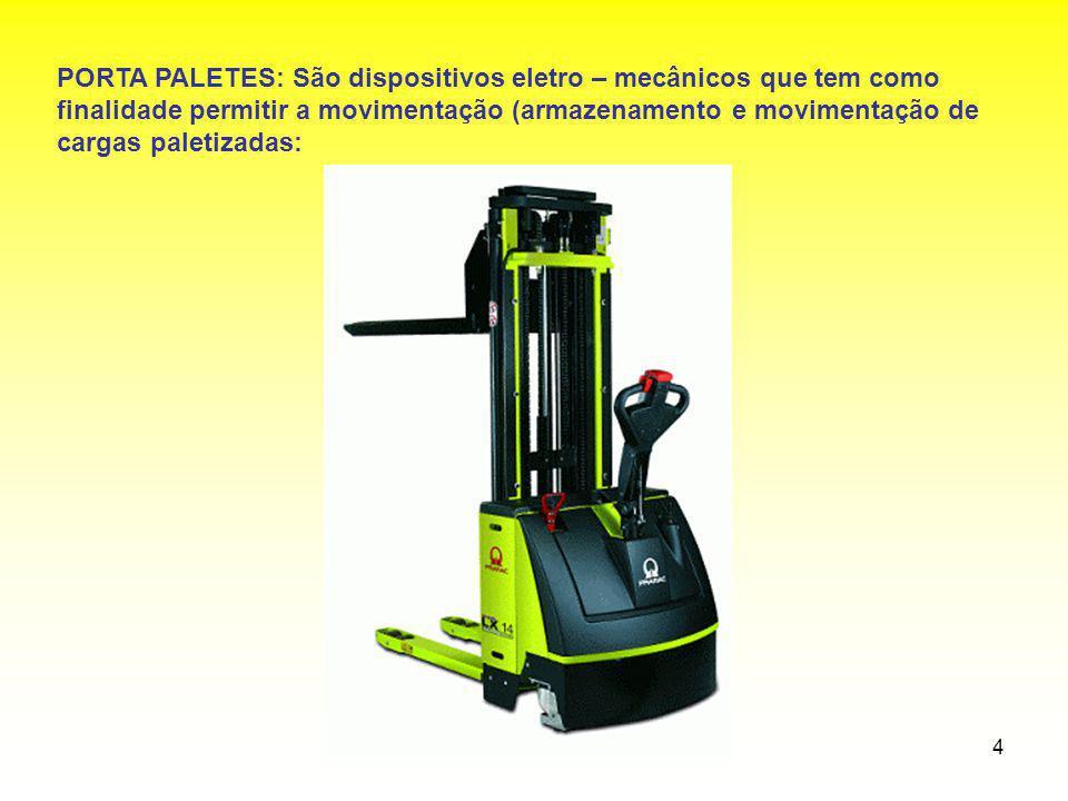 PORTA PALETES: São dispositivos eletro – mecânicos que tem como finalidade permitir a movimentação (armazenamento e movimentação de cargas paletizadas: