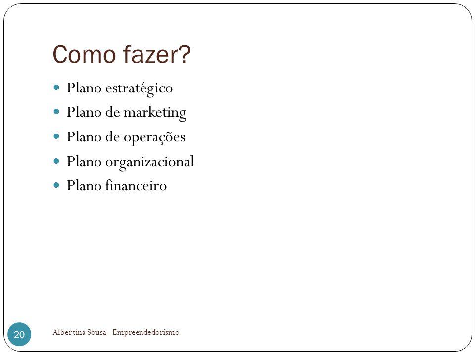 Como fazer Plano estratégico Plano de marketing Plano de operações