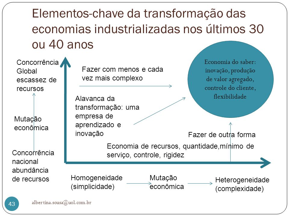 Elementos-chave da transformação das economias industrializadas nos últimos 30 ou 40 anos