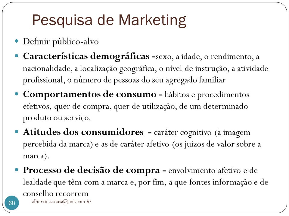 Pesquisa de Marketing Definir público-alvo