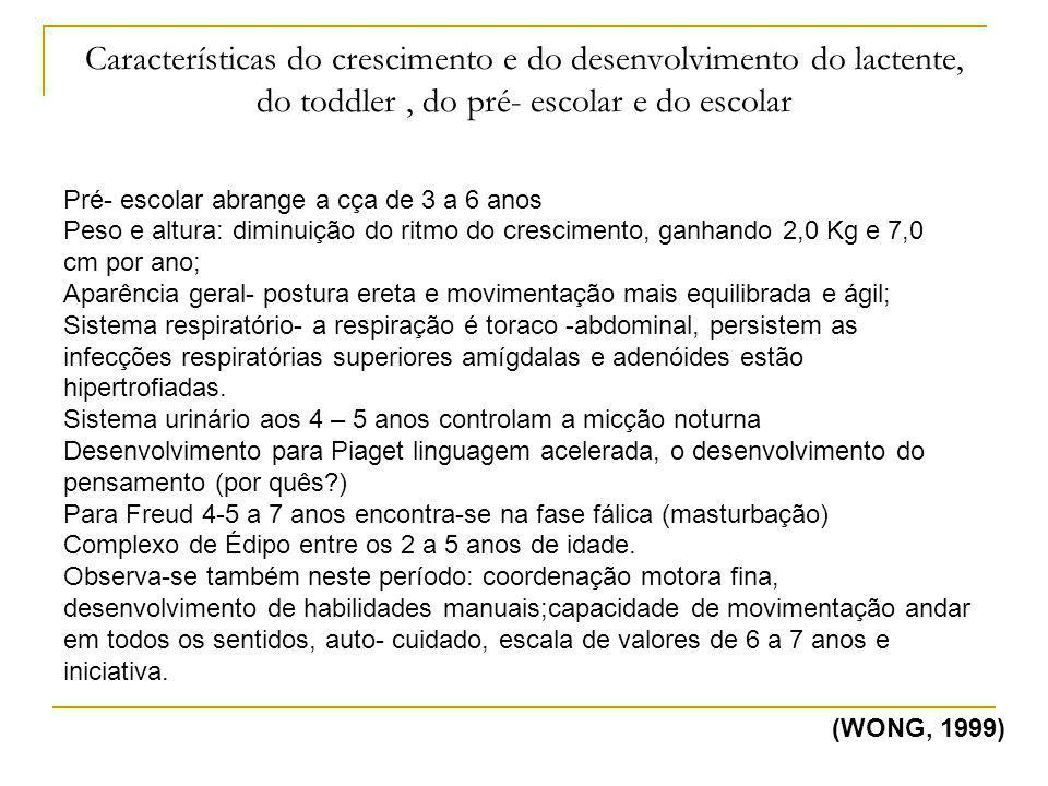 Características do crescimento e do desenvolvimento do lactente, do toddler , do pré- escolar e do escolar