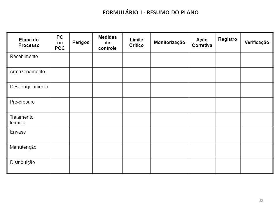 FORMULÁRIO J - RESUMO DO PLANO