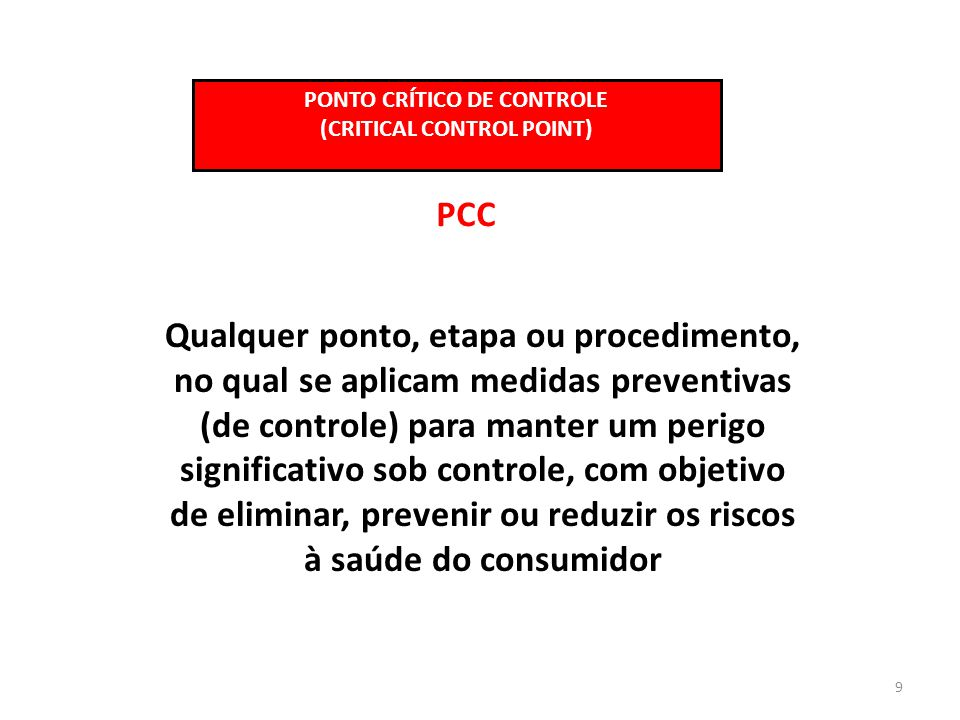 PONTO CRÍTICO DE CONTROLE (CRITICAL CONTROL POINT)