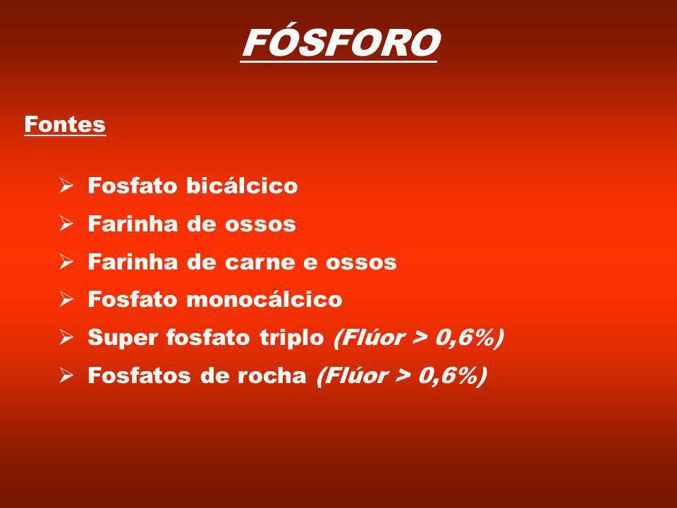 FÓSFORO Fontes Fosfato bicálcico Farinha de ossos