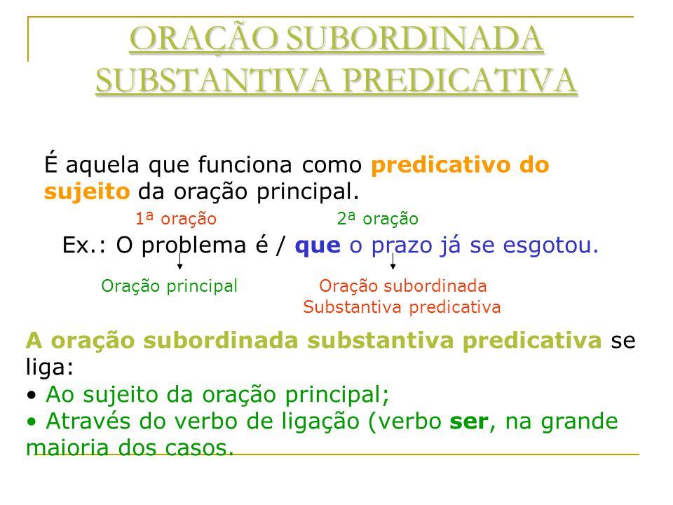 ORAÇÃO SUBORDINADA SUBSTANTIVA PREDICATIVA