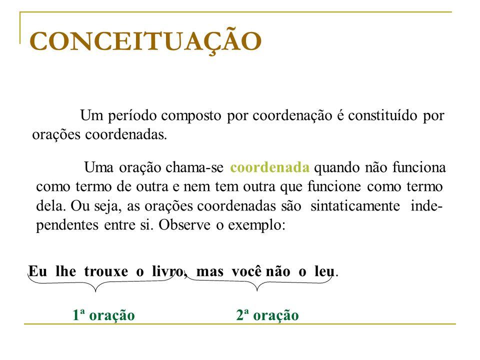 CONCEITUAÇÃO Um período composto por coordenação é constituído por