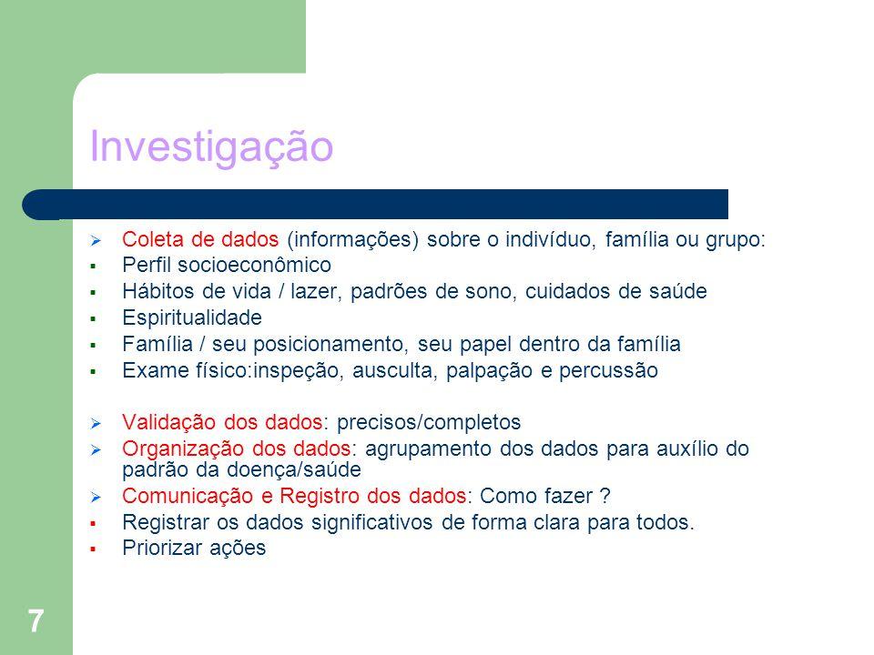 Investigação Coleta de dados (informações) sobre o indivíduo, família ou grupo: Perfil socioeconômico.
