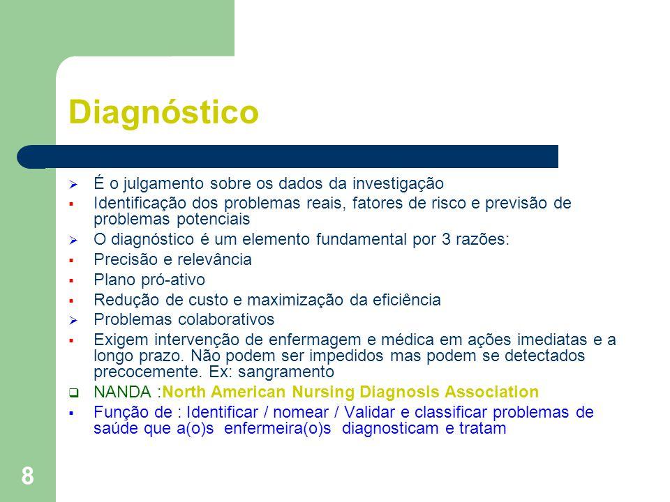 Diagnóstico É o julgamento sobre os dados da investigação