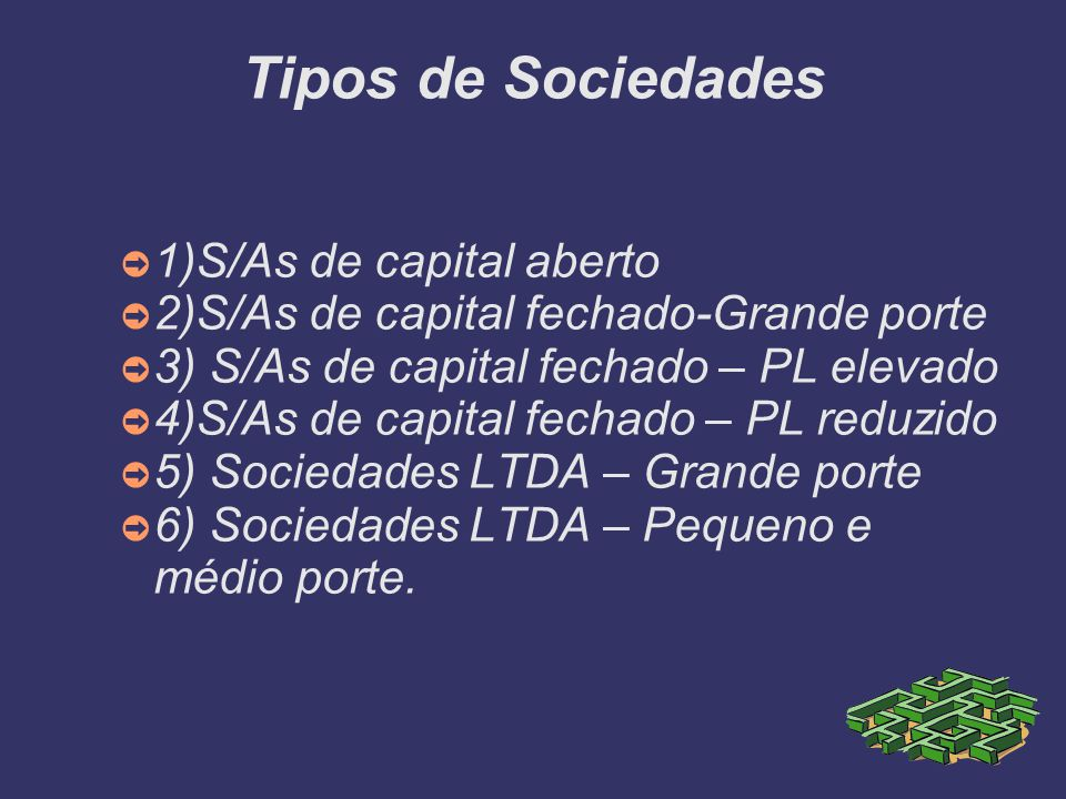 Tipos de Sociedades 1)S/As de capital aberto