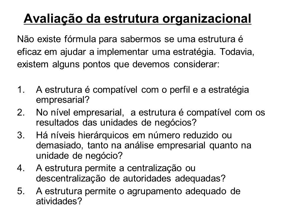 Avaliação da estrutura organizacional