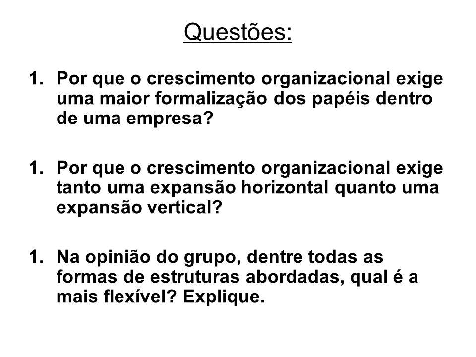Questões: Por que o crescimento organizacional exige uma maior formalização dos papéis dentro de uma empresa