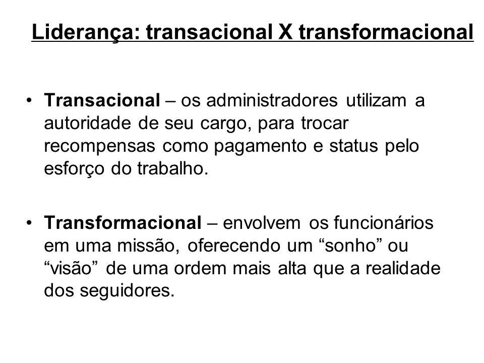 Liderança: transacional X transformacional