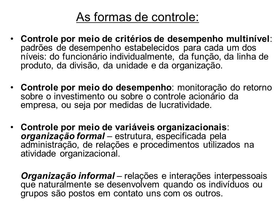 As formas de controle: