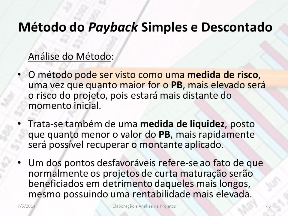 Método do Payback Simples e Descontado
