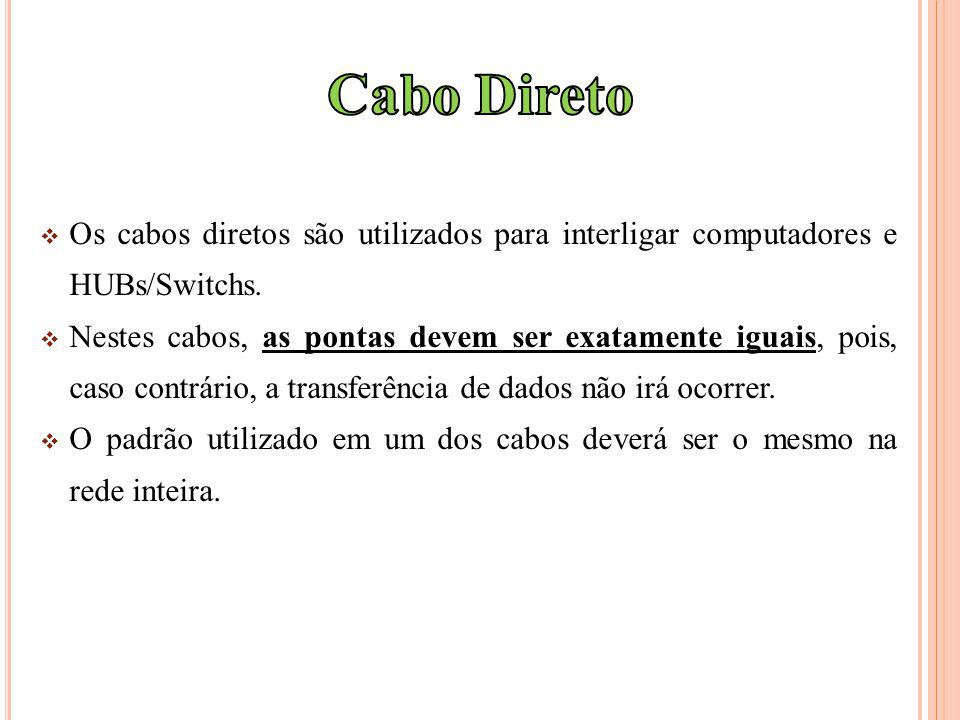 Cabo Direto Os cabos diretos são utilizados para interligar computadores e HUBs/Switchs.
