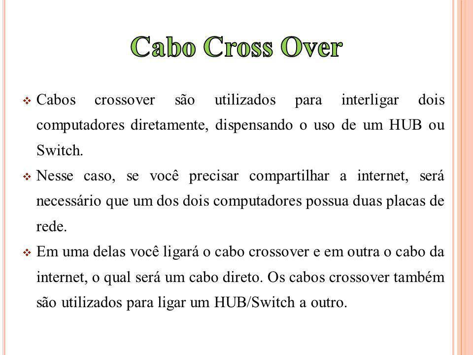 Cabo Cross Over Cabos crossover são utilizados para interligar dois computadores diretamente, dispensando o uso de um HUB ou Switch.