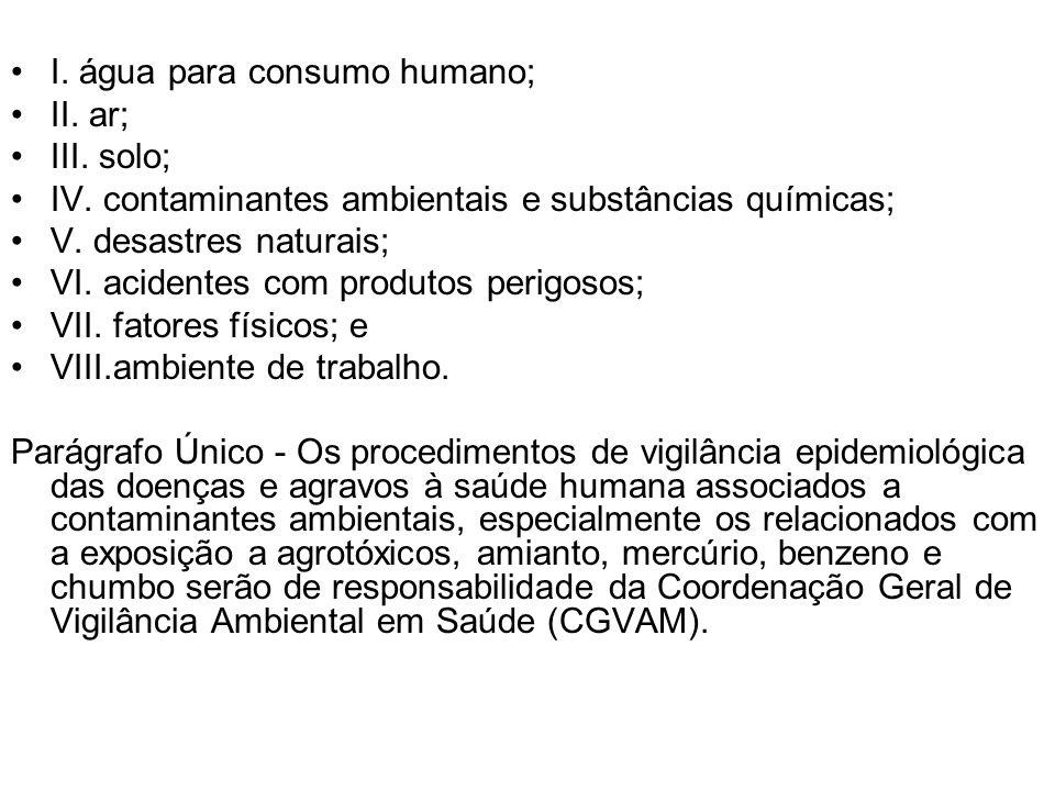 I. água para consumo humano;