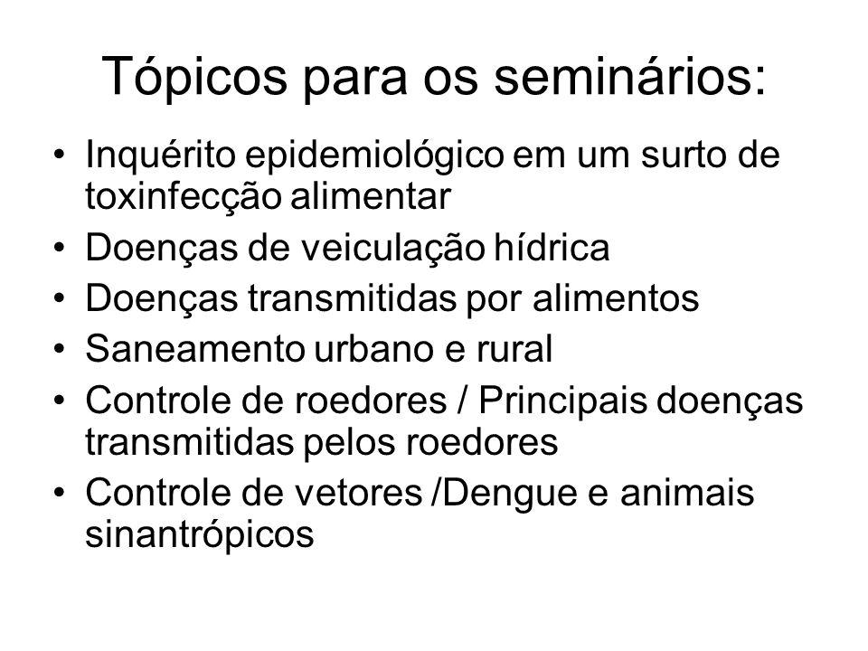 Tópicos para os seminários: