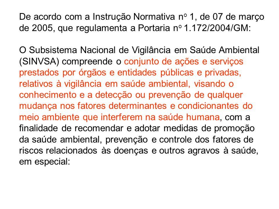 De acordo com a Instrução Normativa no 1, de 07 de março de 2005, que regulamenta a Portaria no 1.172/2004/GM: